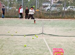 コーチからの球出しによるフォアハンドストロークの練習の1コマ
